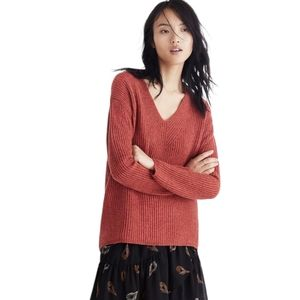 Madewell Woodside Pullover Sweater XS Heather Rust Ribbed Merino Wool V-Neck